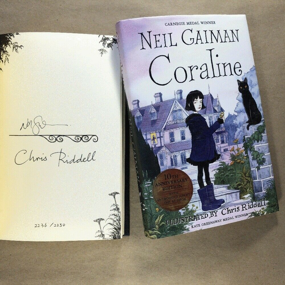 Neil Gaiman Chris Riddell Coraline Signed X 2 10th Anniversary Limited Edition For Sale Online Ebay