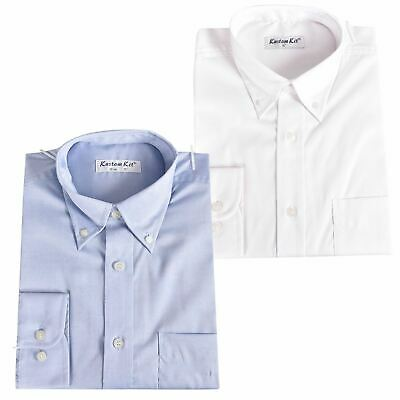 Men Long Sleeve Button Down Collar Office Smart Casual Formal Dress Cotton Shirt