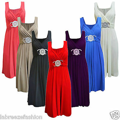 LADIES EVENING FORMAL BUCKLE MAXI DRESS SUMMER COLORS UK SIZES 8-26