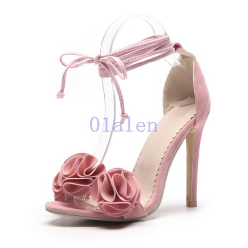Lady/'s High Stiletto Heel Flower Ankle Strap Lace up Sandals Shoes Aill Size Hot