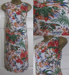 NEW-M-amp-S-Tropical-Floral-Print-Linen-Blend-Tunic-Shift-Dress-Summer-Ivory-8-22