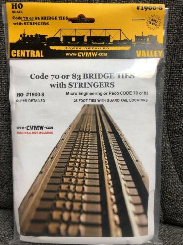 CENTRAL VALLEY 1900-8 HO CVT Bridge Ties with Stringers 70//83 MODELRRSUPPLY