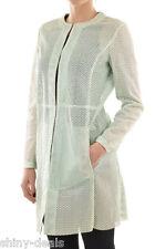 DROME New Woman Light Green Leather Laser Cut Trench Coat Longline Jacket Sz S