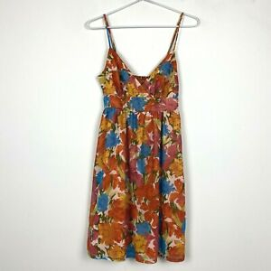 Portmans-Womens-Orange-Floral-Sleeveless-Lined-Dress-with-Side-Zipper-Size-8