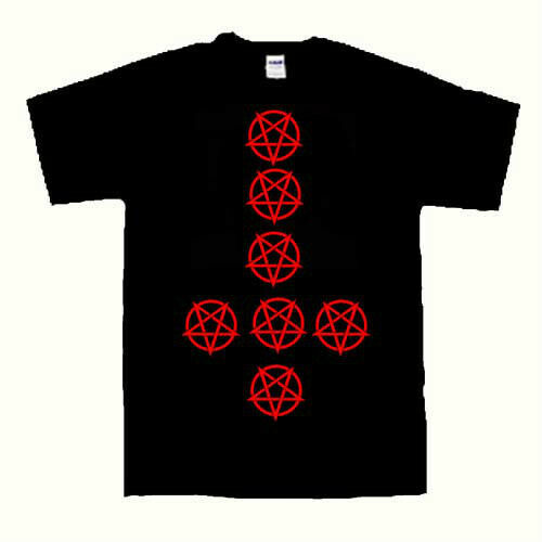 Inverted pentagrams inverted cross t shirt conjuration witchcraft s to 2xl