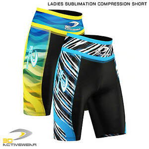 Ladies-Sublimated-Compression-Shorts-Base-Layer-Thermal-Sport-Jogging-Half-Tight
