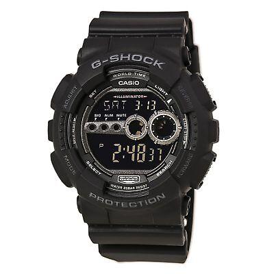 Casio GD100-1B Men's G-Shock World Timer Black Resin Digital Dial Dive Watch