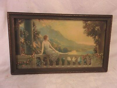 """Professional Sale Vintge Maxwell/fox Print With Deco Frame11 3/4 X 19 3/4 Holds 10x18 Molding 1"""" Picture Frames Decorative Arts Complete Range Of Articles"""