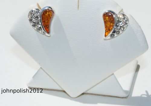 Cute Baltic Amber Earrings Studs with Silver 925