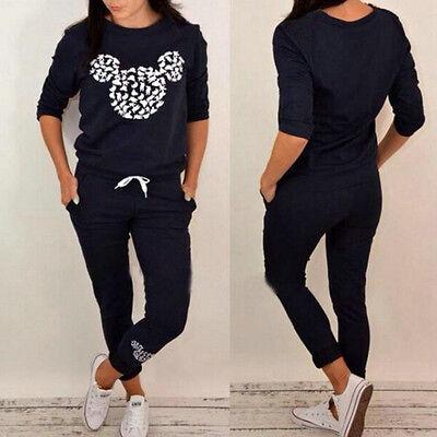 New Womens Hoodies Sweatshirt Set Casual Tracksuit Gym Jogging Pants Sportswear