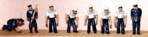 8-Sailors-F198p-PAINTED-OO-Scale-Langley-Models-People-Figures-1-76-Figures