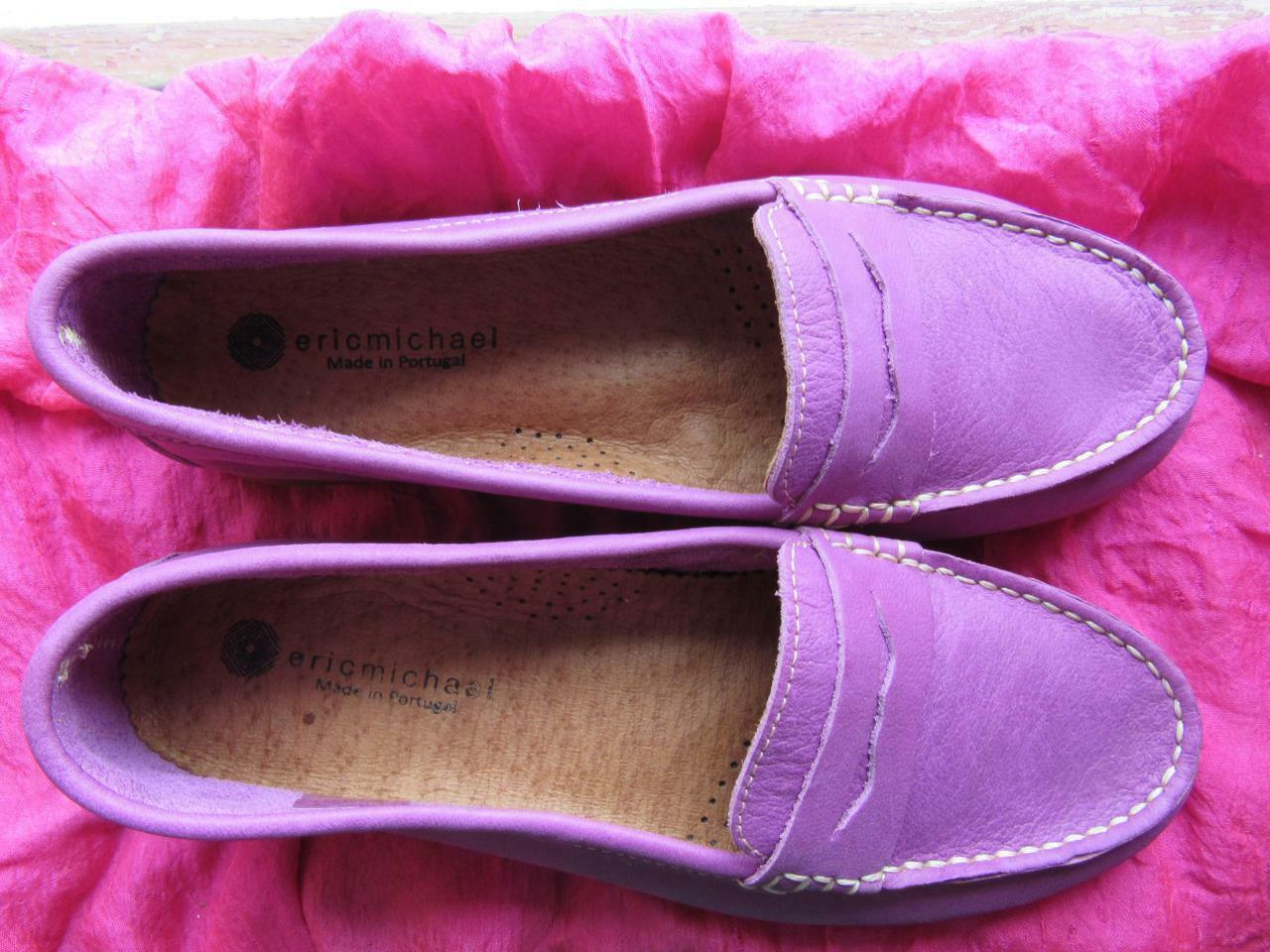ERIC MICHAEL Scarpe BURGUNDY PORTUGAL SUEDE LOAFERS SIZE 6 M 36 MADE