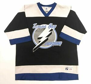 best sneakers 49cdd ec850 Details about Vintage 90's Logo 7 Puppa #93 NHL Tampa Bay Lightning Hockey  Jersey L Large Mens