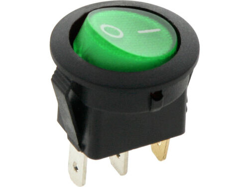 ROUND Rocker Switch 6.5A 240V Green ON-OFF Double Pole 3 Pin  ILLUMINATED