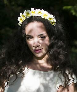 Jaune Blanc Plumeria Serre Tete Fleur Cheveux Couronne Fleur De