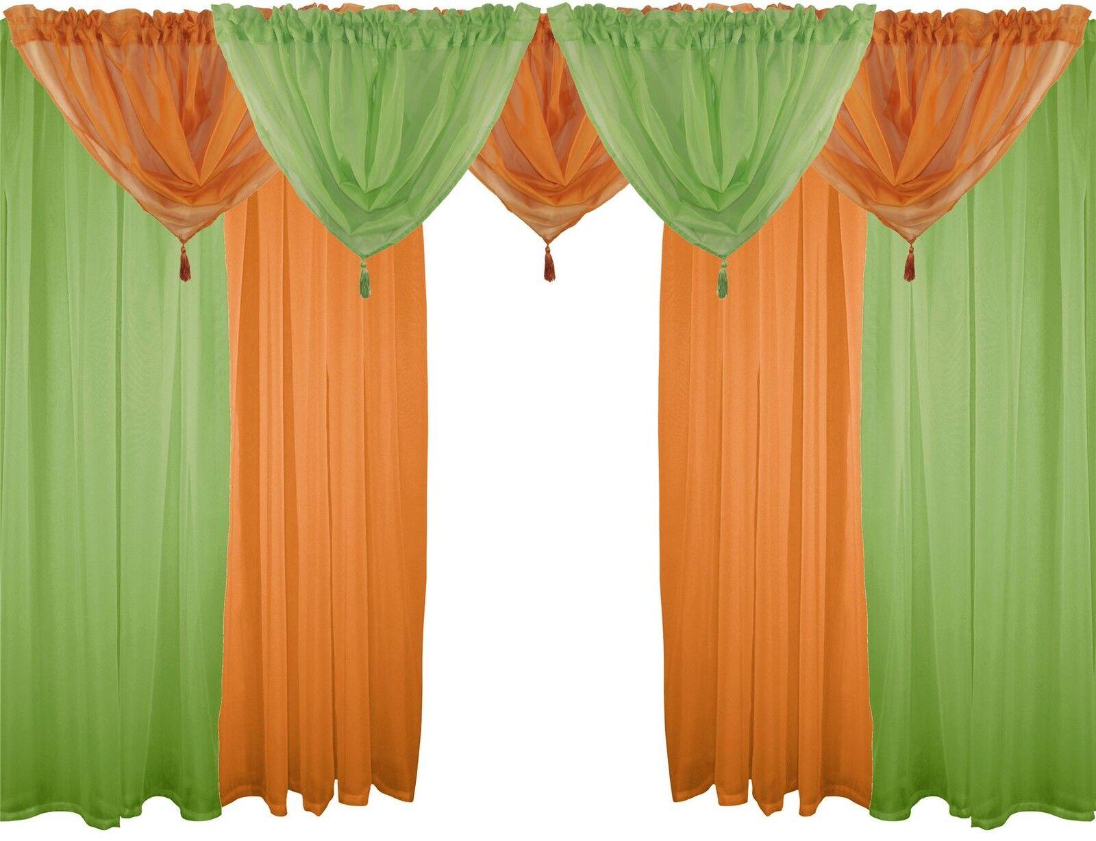 Grün & Orange 9 Teile Voile-Set 183cm Stab Taschen Gardinen Vorhänge & Beute