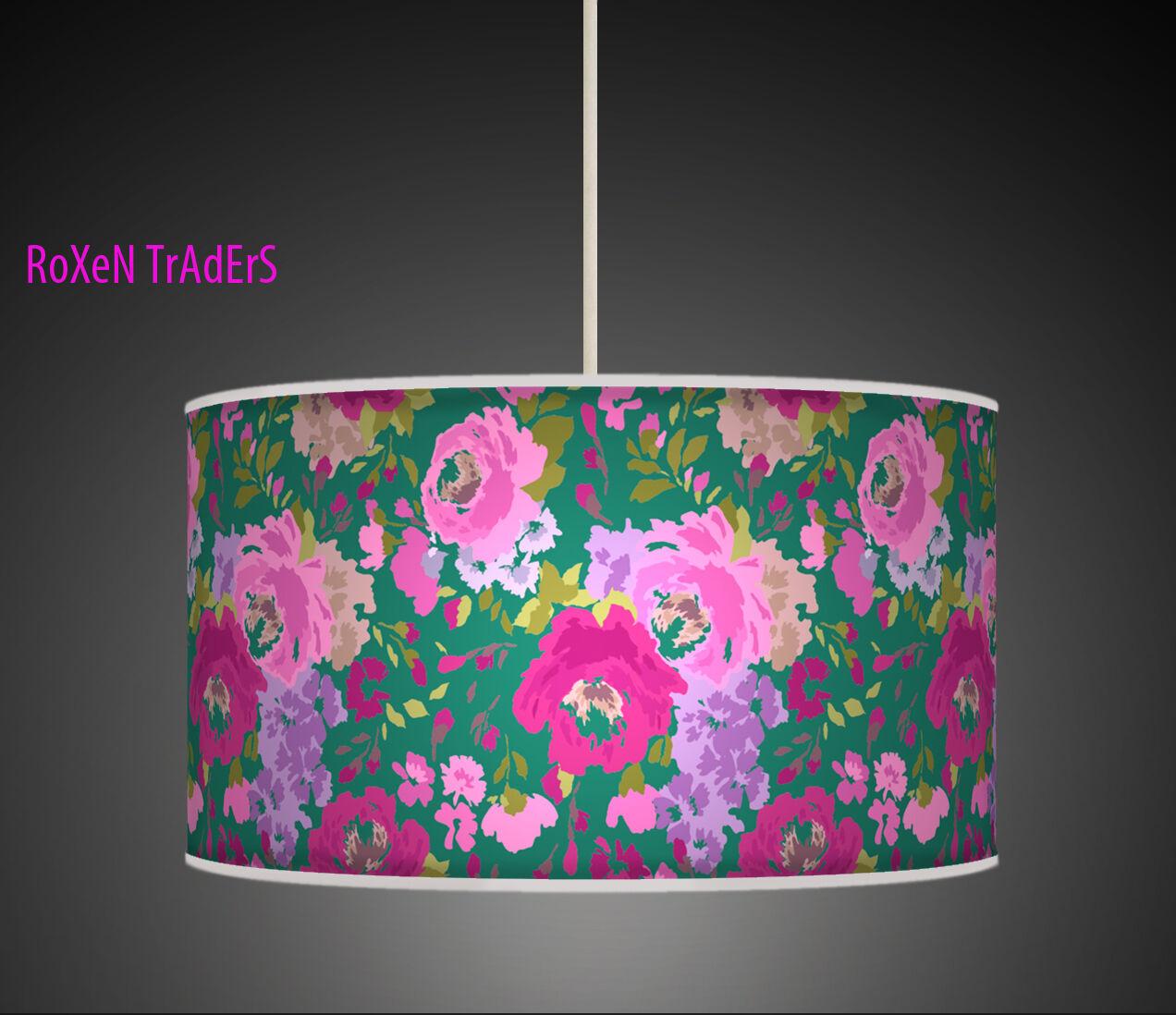 Fiore verde rosa Retrò fatto a mano tessuto stampato a a a Tamburo Ciondolo Luce Paralume - 730 28a123
