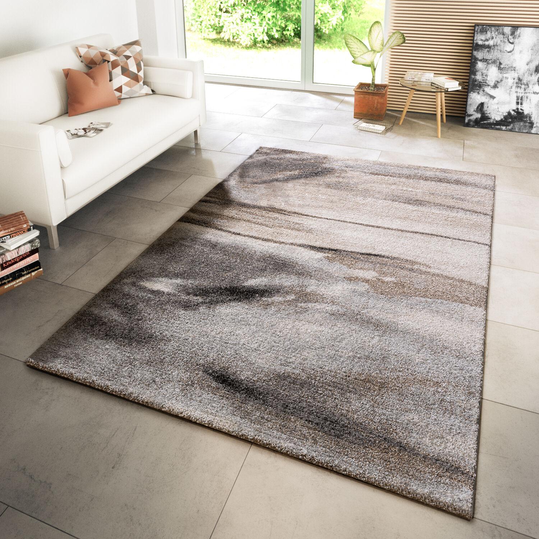 Teppich Teppich Teppich Modern Wohnzimmer Webteppich Wellen Style Meliert In Grau Beige 82f07f