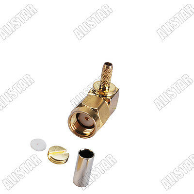 10x MCX male crimp connector right angle for RG316 RG174 goldplated Free Ship