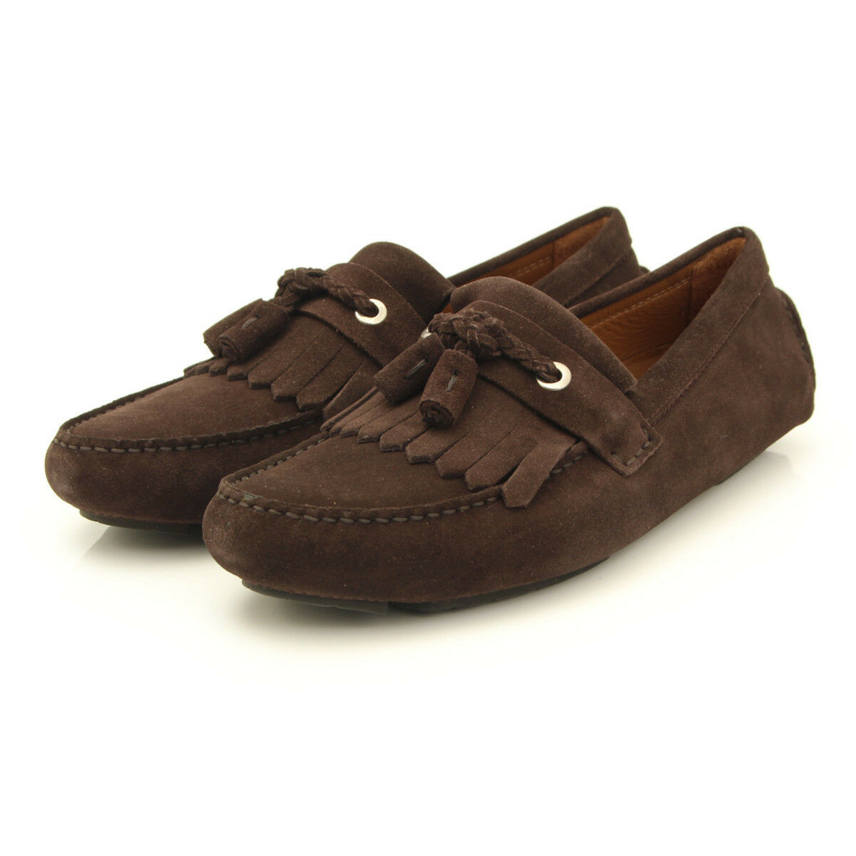 AUTHENTIC JIMMY CHOO Uomo TASSELED SUEDE DRIVING SHOES BROWN GRADE NS  ED -HP