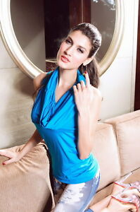 Aqua-Rhinestone-Cowl-Neck-Mini-Dress