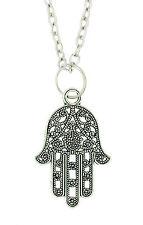 Lucky Hamsa Tibetan Silver Pendant - Fatimas Hand of God Protection