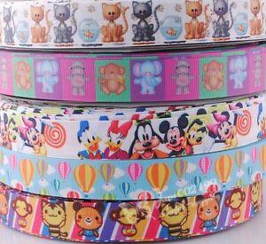 "5Y 7/8"" grosgrain ribbon bows printed cartoon animals DIY craft appliques RG037"