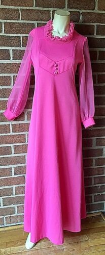 Vintage Amazing 1960's Day Glow Pink Cocktail Gown