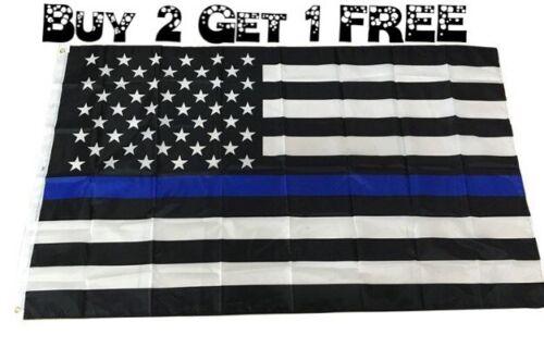 Bleu Lives Matter police USA American Thin Blue Line 3x5 Flag Officers 3/' x 5/'