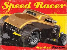 Speed Racer Hot Rod, Repairs, Retro Garage Custom Car, Medium Metal/Tin Sign