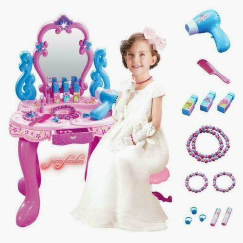 GIRLS PINK VANITY PIANO TABLE  KIDS DRESSING MIRROR MAKE UP DESK TOY X-MAS GIFT