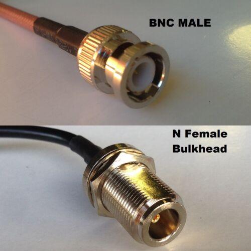 RG316 BNC MALE to N FEMALE BULKHEAD Coaxial RF Cable USA-US