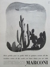 10/1945 PUB MARCONI WIRELESS COMMUNICATIONS AIRCRAFT DESERT CACTUS ORIGINAL AD