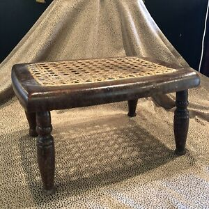 Antique Circa 1835 Small Wood Stool with Cane Seat 19th Century