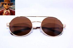 Men s Round Gold Frame Sunglasses : Django Round Shape Mens Sunglasses Retro Vintage Gold ...