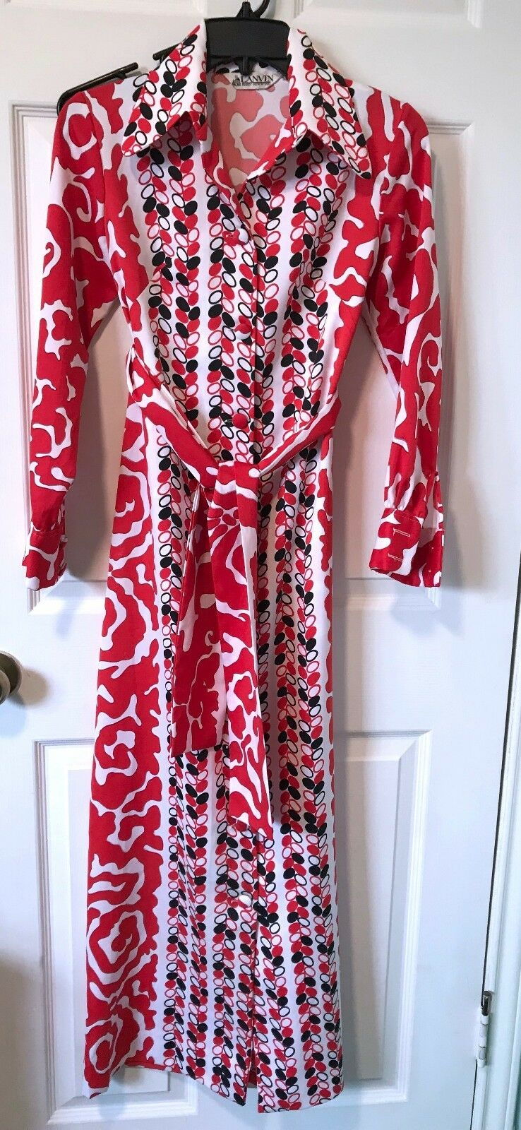 Vintage Lanvin Paris New York 1960s-1970s Mod Full-length Dress - Size 8