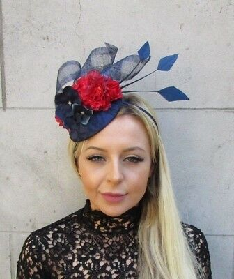 White Sinamay Rose Flower Feather Pillbox Hat Fascinator Races Hair Wedding 5944
