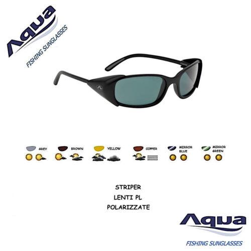 Aqua Glasses Polarized Anti-Glare Striper Matte Black Lightweight lenses PL