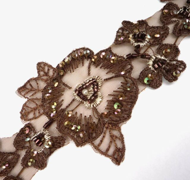 "Brown Lace w/ Silver Metallic / Bead & Sequin Trim 2-1/2"" 6.3cm Craft DIY SQ16"