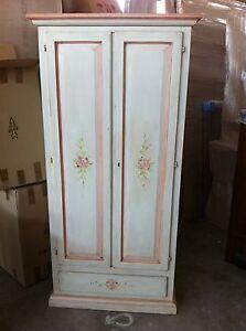 armadio 2 ante dipinto a mano decorato massello ingresso cameretta
