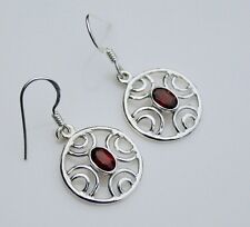 HANDCRAFTED STERLING SILVER FACETED GARNET GEMSTONE  FILIGREE DROP EARRINGS
