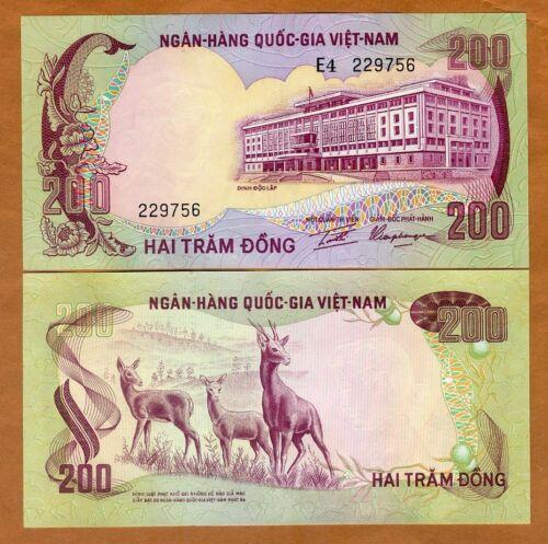 UNC /> Antelopes 1972 200 dong Vietnam South ND P-32