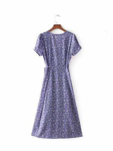 Women Button Foil Floral Wrap Midi Dress Vintage Beach Dress Floral Sundress