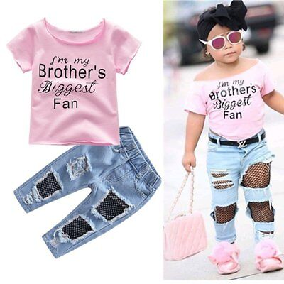 2PCS Toddler Kids Baby Girls T-shirt Tops+Hole Jeans Pants Clothes Outfits Set
