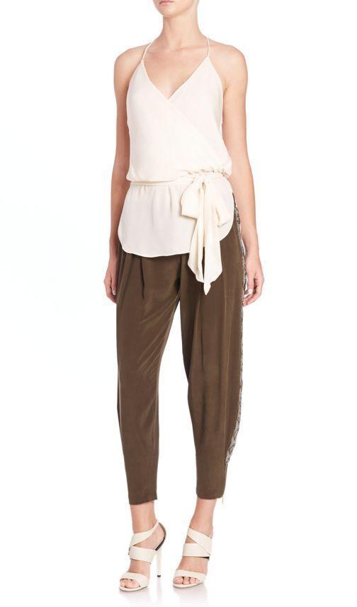 Haute Hippie Embellished Tuxedo Stripe Silk Pants  495 size XS