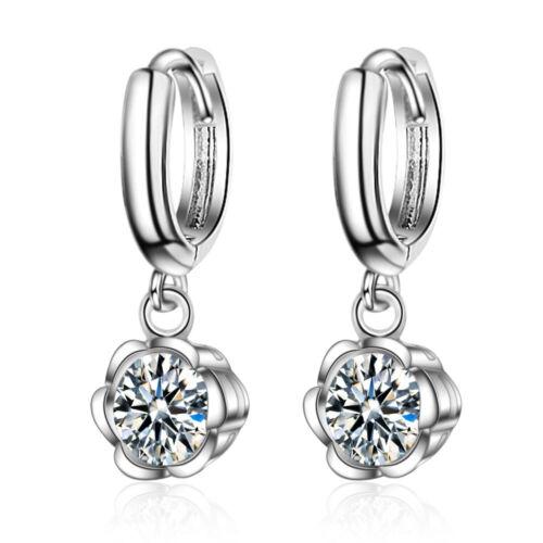 Argent Sterling 925 élégant Zircon Fleur Dangle Boucles d/'oreilles Créoles Party Jewelry