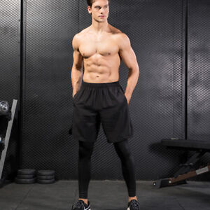 Men-039-s-Compression-Pants-Basketball-Football-Training-Spandex-two-pieces-Tights