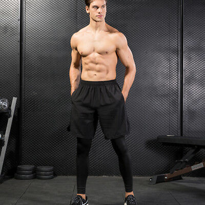 Men/'s Compression Pants Basketball Football Training Spandex two pieces Tights