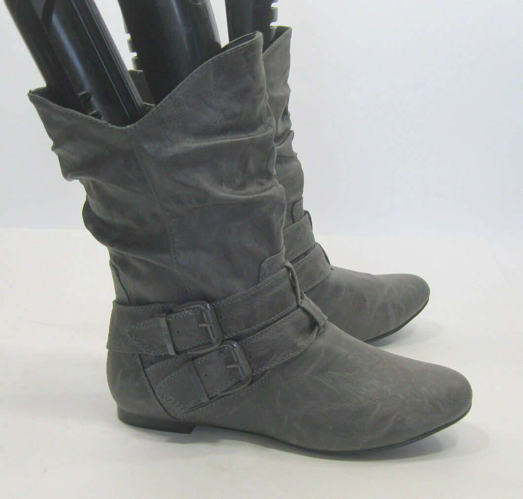 Womens Gray Round Toe Sexy Ankle Boots Side Buckles Size 6.5