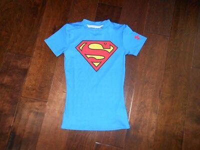 NWT Under Armour Superman BOY/'S XL 18-20 Fitted HeatGear Long Sleeve T-shirt Top